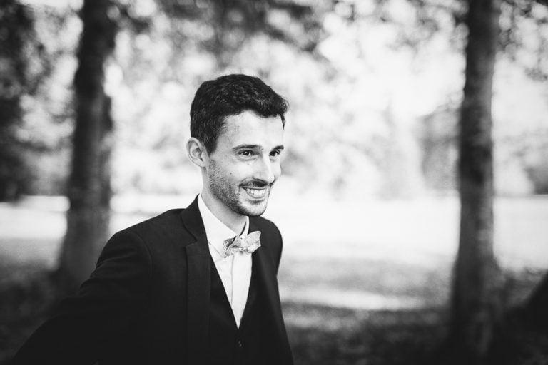 Photographe mariage Tours Domaine de la Bergerie portrait noir et blanc