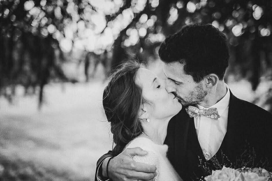 Photographe mariage Tours Domaine de la Bergerie noir et blanc